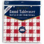 Creative Converting 41188 Red Gingham Round Plastic Tablecover, 82""