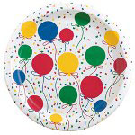 "Creative Converting Disposable 9"" Paper Plates, Balloon Pattern, 12 Packs of 25"