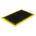 Crown Safewalk Workstations Anti-Fatigue Drainage Mat, 40 x 124, Black/Yellow