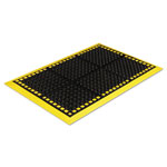 Crown Safewalk Workstations Anti-Fatigue Drainage Mat, 28 x 40, Black/Yellow