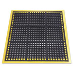 Crown Safewalk Workstations Anti-Fatigue Drainage Mat, 40 x 40, Black/Yellow