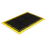 Crown Safewalk Workstations Anti-Fatigue Drainage Mat, 40 x 64, Black/Yellow