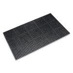 Crown Safewalk Heavy-Duty Anti-Fatigue Drainage Mat, Grease-Proof, 36 x 60, Black