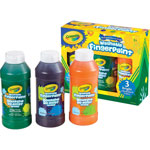 Crayola Washable Fingerpaint Pack, 3 Assorted Bright Colors, 8 oz Tubes, 3/Pack