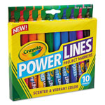 Crayola Powerlines Washable Project Markers with Scents, 10/Set