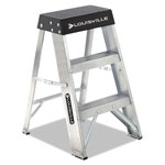 Louisville Ladder Aluminum Step Stool, 17w x 18 1/4 Spread x 26h, Aluminum/Black