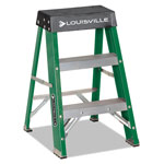 Louisville Ladder #624 Folding Fiberglass Locking Two-Step Stool, 17w x 22 Spread x 24h, Yellow