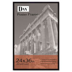 Dax Flat Face Wood Poster Frame, Plexiglas Window, Black Laminate Outer Edge, 24x36