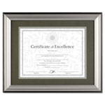 Dax Charcoal/Nickel Tone Document Frame, Desk/Wall, 11 x 14, Matted to 8-1/2 x 11