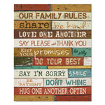 "Dax Motivational Poster, 16 x 20, ""Our Family Rules"", Dark Walnut"