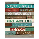 "Dax Motivational Poster, 16 x 20, ""Never Give Up"", Dark Walnut"