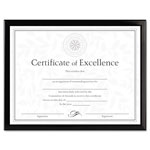 Dax Value U Channel Easel Back Document Frame & Blank Certificate, 8 1/2 x 11, Black