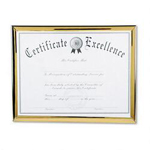 Dax Value U Channel Easel Back Document Frame & Blank Certificate, 8 1/2x11, Gold