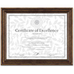 Dax Antique Bronze Document Frame with Certificate, 8 1/2 x 11