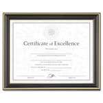 Dax Gold Trimmed Document Frame with Certificate, Black, 8 1/2 x 11