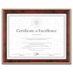 Dax Gold Trimmed Document Frame with Certificate, Mahogany, 8 1/2 x 11