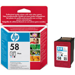 HP 58 Print Cartrid(photo) 1 x Black, Light Magenta, Light Cyan