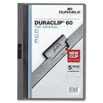 "Durable Office DuraClip® DuraClip Report Cover, 60 Sheet Capacity, 11"" x 8-1/2"", Graphite"