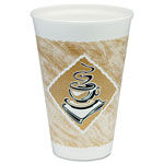 Dart Container Café G Hot/Cold Cups, Foam, 16 oz, White/Brown with Green Accents, 25/Pack