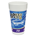Dart Container RPM Stock Print Foam Hot/Cold Cups, 20 oz, Purple/Blue/Yellow/Black