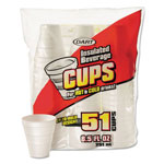 Dart Drink Foam Cups, 8.5 oz, White, 51/Bag, 24 Bags/Carton