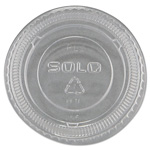 Solo No-Slot Plastic Cup Lids, 1.5-3.5oz Cups, Clear, 100/Sleeve, 25 Sleeves/Carton