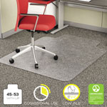 Deflecto EconoMat Vinyl Studded No Bevel Chair Mat for Low Pile Carpet, 45x53, 25x12 Lip