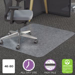 "Deflecto Chairmat, PC, Rectangular, Straight Edge, 46"" x 60"", Clear"