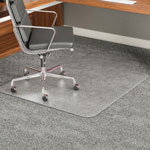 Deflecto ExecuMat Vinyl Chair Mat for Highest Pile/Plush Padded Carpet, 45x53, 25x12 Lip
