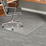 Deflecto ExecuMat Vinyl Chair Mat for Highest Pile/Plush Padded Carpet, 60x60, No Lip