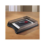 Eldon Distinctions Self Stacking Legal Tray, Black Punched Metal/Cherry Wood