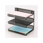 Eldon Expressions Wire Mesh Three Tier Desk Shelf, Letter Size, Pewter