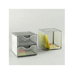 Rolodex Mesh Organization Cube, Two Drawer Cube, Pewter