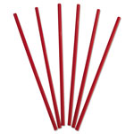 "Dixie Wrapped Giant Straws, 10 1/4"", Polypropylene, Red"
