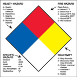 "Tape Logic™ 2"" x 2"" - ""Health Hazard Fire Hazard Specific Hazard Reactivity"""