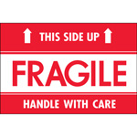 "Tape Logic™ 2"" x 3"" - ""Fragile - This Side Up - HWC"" Labels"