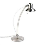 "Dana Lighting Axis Flexible Halogen Metal Desk Lamp, Adjustable Shade, 25"" High, Steel Gray"