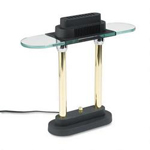 "Dana Lighting Halogen Desk Lamp with Glass Shade, 15"" High, Brass Poles on Black Metal Base"