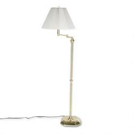 "Dana Lighting Brass Finished Swing Arm Floor Lamp, Pinch Pleat Shade, 57"" High"