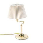 "Dana Lighting 18"" High Solid Brass Swing Arm Desk Lamp for 3 Way Bulb, Off White Pleated Shade"