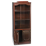 DMI Furniture Governor's Series Bookcase with Doors, 3 Open Shelves/Closed Storage, Mahogany