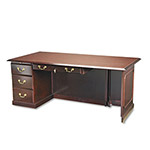 "DMI Furniture Governor's Series Left Pedestal Desk for ""U"" Workstation, 72"" Wide, Mahogany"