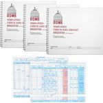 "Dome Check/Deposit Registers, 50 Pages, 10-1/4"" x 8-1/2"", 3/BD, Gray"