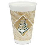 Dart Café G Foam Hot/Cold Cups, 16oz, White w/Brown & Green, 1000/Carton