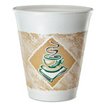 Dart Container Cafe G Foam Hot/Cold Cups, 8 oz, Brown/Green/White, 25/Pack