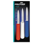 Dexter-Russell SaniSafe Multipack Scalloped Paring Knife; Red/Blue/White, 3 1/2""