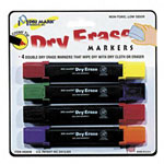 Drimark Dry Erase Markers, Double Ended, Chisel Tip, 4/Set, Assorted