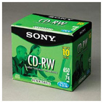 Sony CD RW Rewritable Discs, Branded Surface, 700MB/80MIN, 4x, Silver, 10/Pack