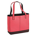Daytimer Pink Ribbon Leather Tote, 11 1/2 x 4 x 10, Pink/Chocolate
