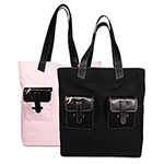 Daytimer Pink Ribbon Canvas Tote, Reversible, 13 x 6 x 15, Black/Pink